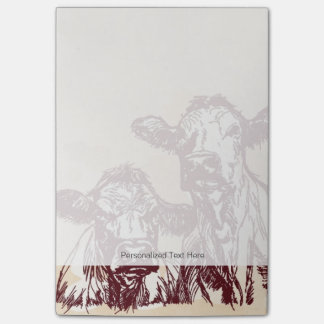Two cows hand draw sketch & watercolor vintage sticky notes