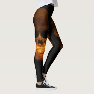 Two Creepy Human Skulls Leggings