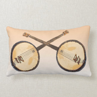 Two Crossed Banjos Music Lumbar Pillow