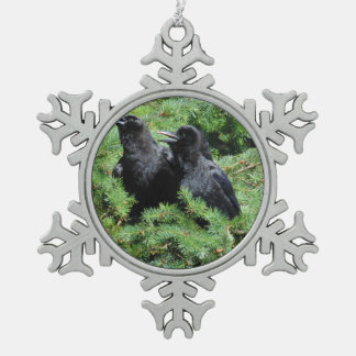 Two Crows Snowflake Pewter Christmas Ornament