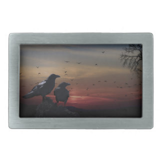 Two Crows With Beautiful Sunset Belt Buckle
