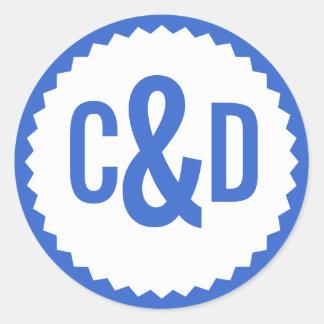 Two Custom Initials Seal Zigzag Border, Delft Blue Round Sticker