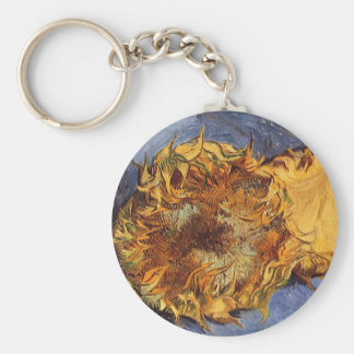 Two Cut Sunflowers by Vincent van Gogh Basic Round Button Keychain