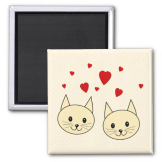 Two Cute Amber Color Cats with Red Hearts. Magnet