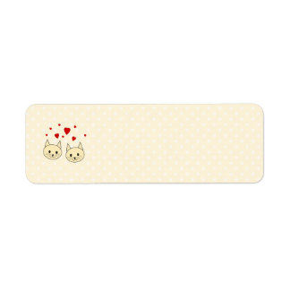 Two Cute Amber Color Cats with Red Hearts. Return Address Label