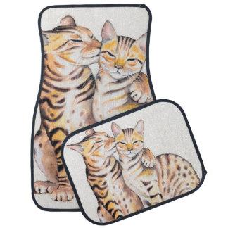 Two Cute Bengal Cats Watercolor art Car Mat