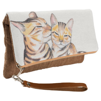Two Cute Bengal Cats Watercolor art Clutch