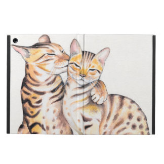 Two Cute Bengal Cats Watercolor art iPad Air Cover