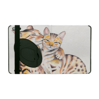 Two Cute Bengal Cats Watercolor art iPad Cover