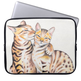 Two Cute Bengal Cats Watercolor art Laptop Sleeve