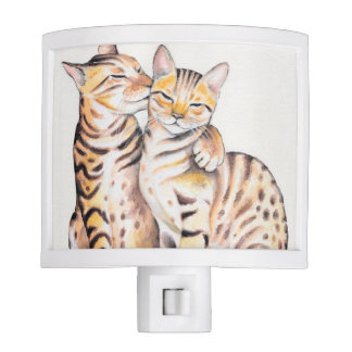 Two Cute Bengal Cats Watercolor art Nite Light