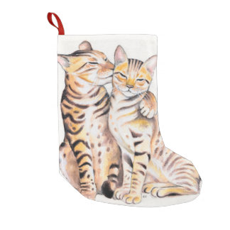 Two Cute Bengal Cats Watercolor art Small Christmas Stocking
