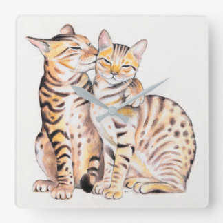 Two Cute Bengal Cats Watercolor art Square Wall Clock