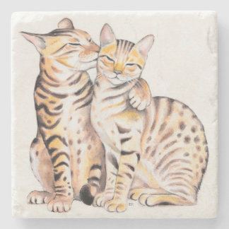 Two Cute Bengal Cats Watercolor art Stone Coaster