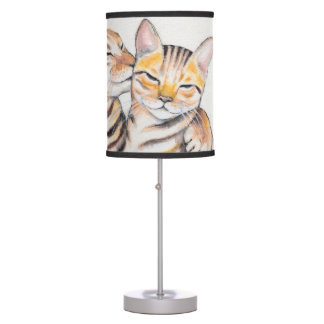 Two Cute Bengal Cats Watercolor art Table Lamp
