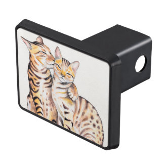 Two Cute Bengal Cats Watercolor art Trailer Hitch Cover