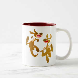 Two Cute Bouncy Cartoon Kangaroos Two-Tone Coffee Mug