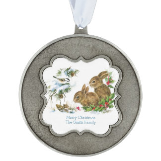 Two Cute Bunnies Custom Merry Christmas Scalloped Pewter Christmas Ornament