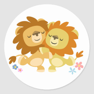 Two Cute Cartoon Lions Tango Sticker