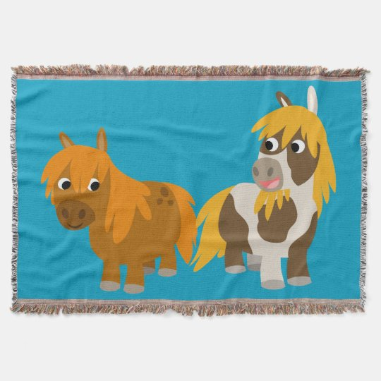 Two Cute Cartoon Ponies Throw Blanket