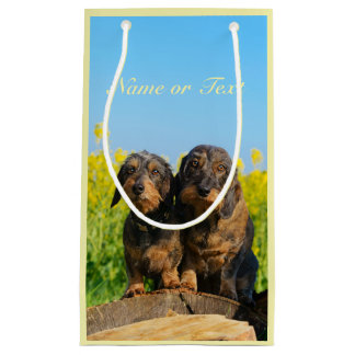 Two Cute Dachshund Dogs Dackel Photo  Personalized Small Gift Bag