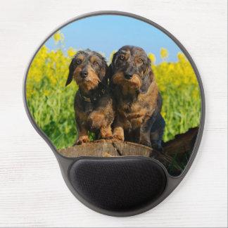 Two Cute Dachshund Dogs Dackel Portrait  ergonomic Gel Mouse Pad