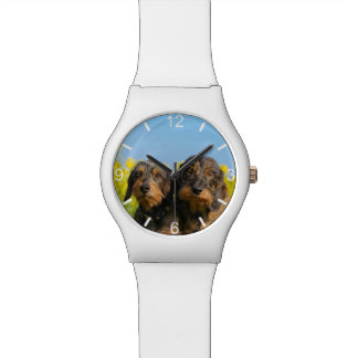 Two Cute Dachshunds Dogs Dackel Friends dial-plate Watch