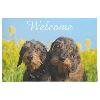 Two Cute Dachshunds Dogs Dackel Friends / Welcome Doormat