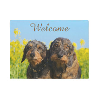 Two Cute Dachshunds Dogs Dackel Friends - Welcome Doormat