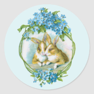 Two Cute Easter Bunnies Round Sticker