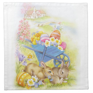Two cute Easter bunnies with town Napkin