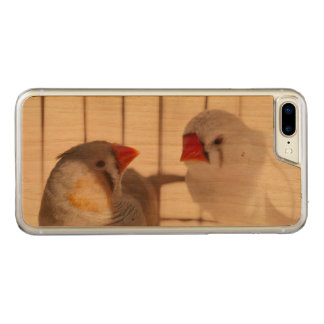 Two Cute Finch Birds in Cage Carved iPhone 8 Plus/7 Plus Case