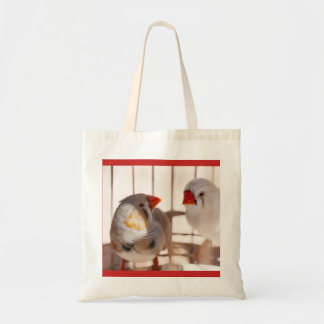 Two Cute Finch Birds in Cage Tote Bag