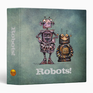 Two Cute Kid's Steampunk Robots 3 Ring Binders