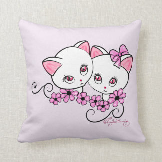 Two cute Kittens with Daisies Pink Throw Pillow
