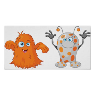 Two Cute Monsters Poster