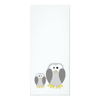 "Two Cute Penguins. Cartoon. 4"" X 9.25"" Invitation Card"