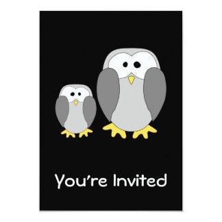 "Two Cute Penguins. Cartoon. 5"" X 7"" Invitation Card"