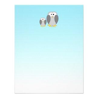 Two Cute Penguins. Cartoon on Sky Blue. Custom Invite