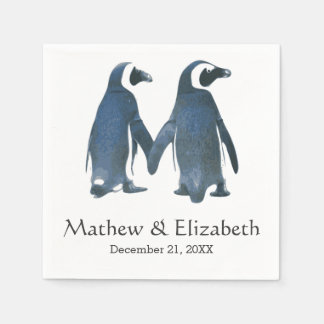 Two Cute Penguins | Romantic Wedding Disposable Napkins