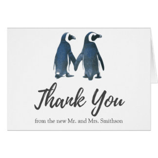 Two Cute Penguins | Romantic Wedding Thank You Card
