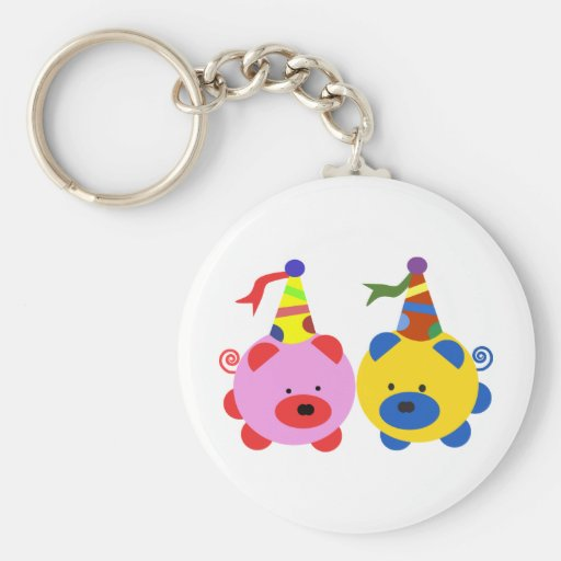 Two cute piggies at party time. keychain