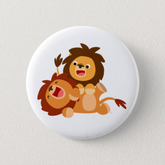 Two Cute Playful Cartoon Lions 2 Inch Round Button