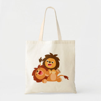 Two Cute Playful Cartoon Lions Bag