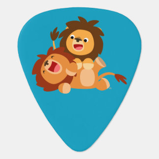 Two Cute Playful Cartoon Lions Guitar Pick