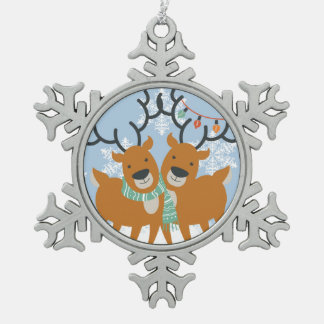 Two Cute Reindeer Gay Pride Christmas Snowflake Pewter Christmas Ornament