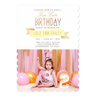 Two Cute | Second Birthday Party Photo Card