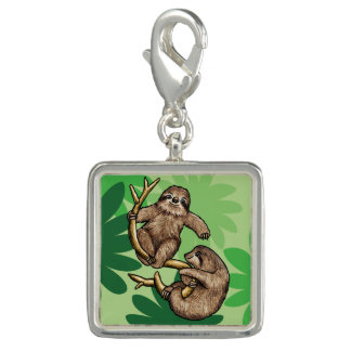 Two Cute Sloths on a Branch Photo Charm