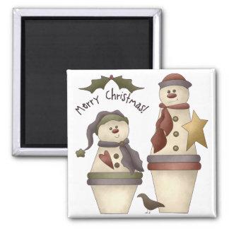 Two Cute Snowmen :: Merry Christmas Design Magnet
