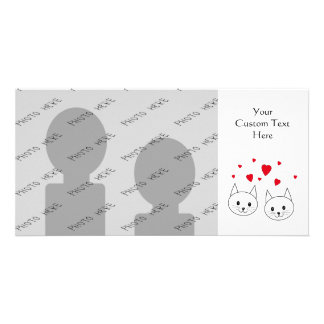 Two Cute White Cats with Red Hearts. Personalized Photo Card